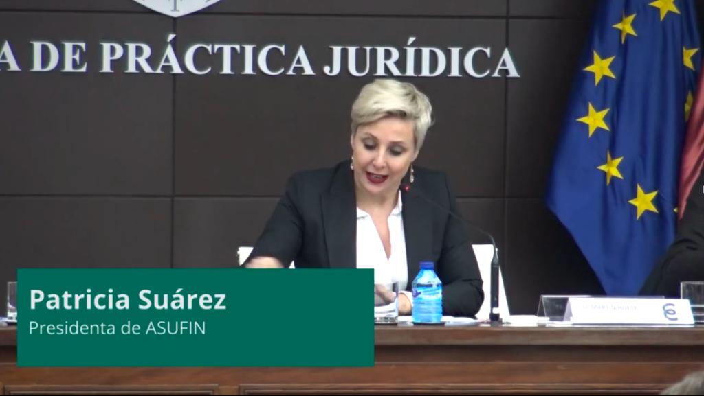Patricia Suárez modera la mesa redonda 'Aspectos Legales de las Fintech' en la jornada organizada por la Fundación Hay Derecho y Zunzunegui Abogados